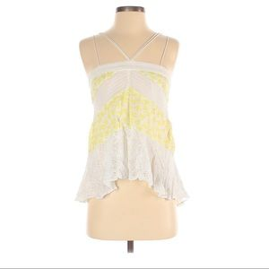 Anthropologie Leifnotes Yellow Bird Print Tank Top